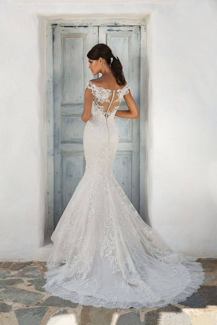 Justin Alexander Style 8954 Illusion Lace Off the Shoulder Fit and Flare Gown with Open Back