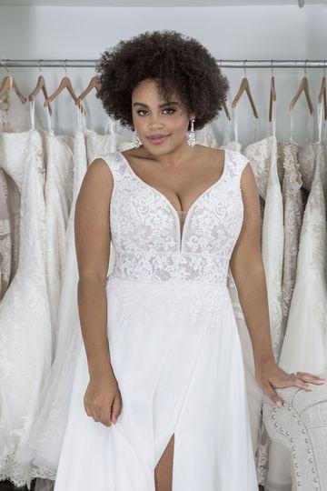 Sincerity Bridal Style 44275PS Plus Size Chiffon Dress with Slit and Cutout Train