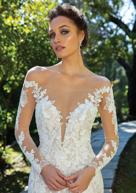 Justin Alexander Style 88120 Off the Shoulder Fit and Flare Gown with Beaded Lace