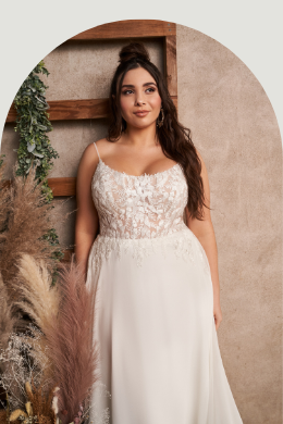 Lillian West Style 66200PS Plus Size Chiffon A-Line Gown with Spaghetti Straps and Illusion Train