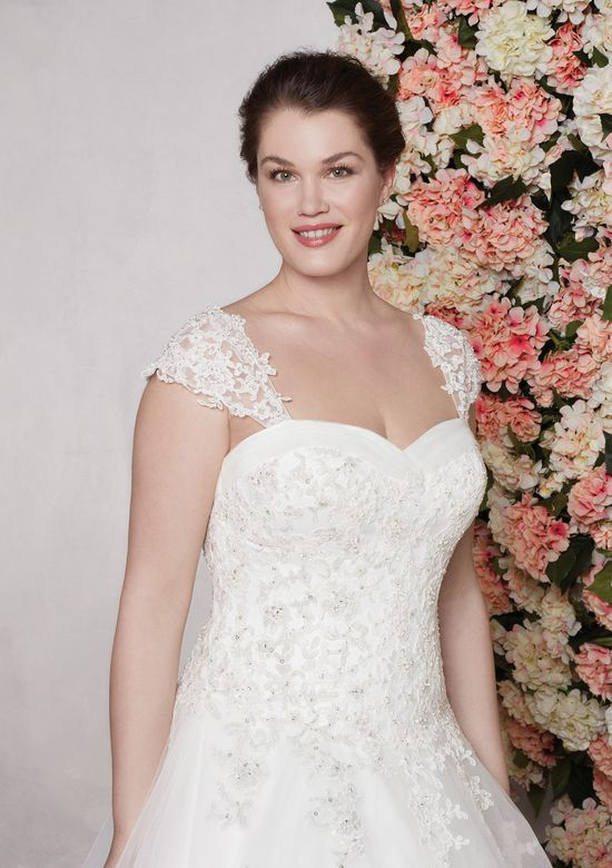 Sincerity style 44126SL Lightly Beaded Corded Lace Detachable Straps plus size