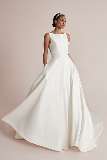 Justin Alexander Style 88208 Camryn Mikado Ball Gown with Sabrina Neckline and Beaded Back