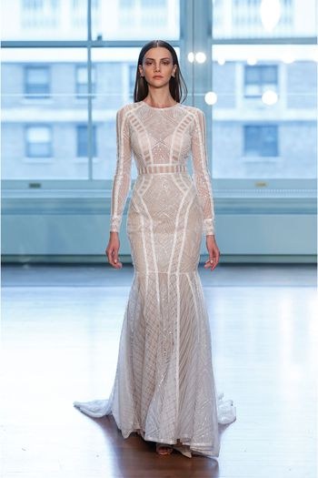 Justin Alexander Signature Style 99045 Linear Geometric Sequined Lace Fit and Flare Dress
