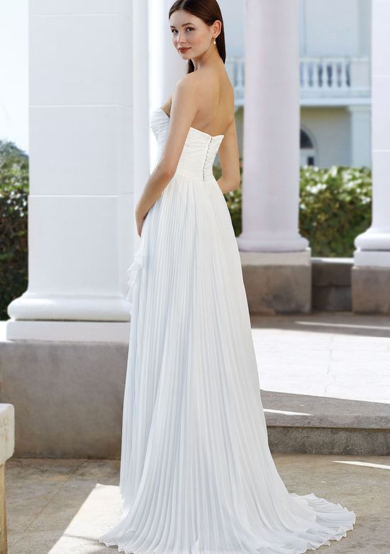 Adore by Justin Alexander Style 11101 Asymmetrical High-Low Gown with Chiffon Accordion Pleating