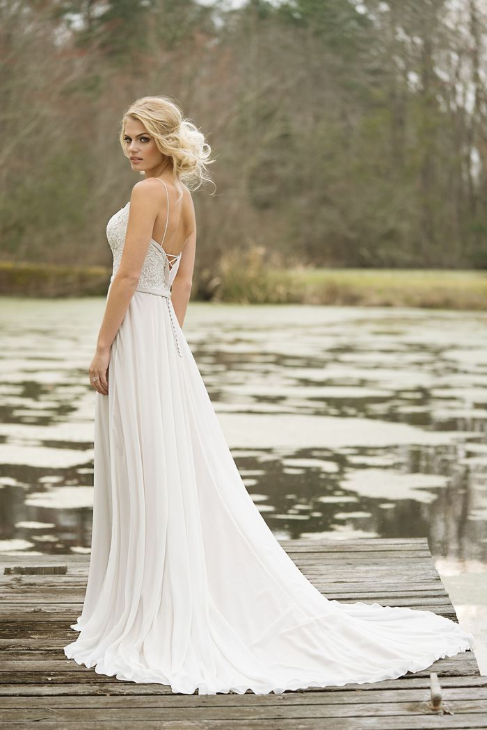 Lillian West Style 6467 Lace and Chiffon Slim A-Line Gown with Lace-Up Back