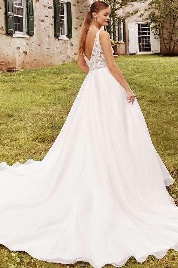 Sincerity Bridal Style 44262 Organza Skirt Ball Gown with Deep V-Neckline and Cummerbund