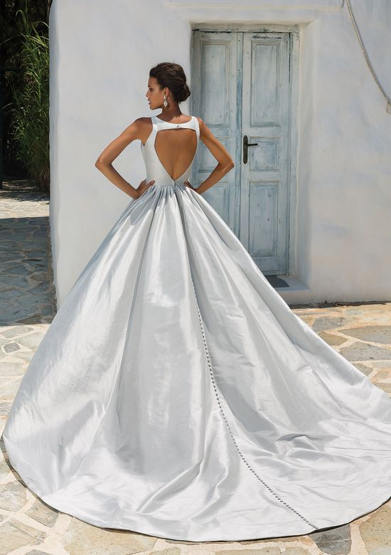Justin Alexander Style 8970 Silk Dupion Ball Gown with Plunging V-Neckline and Keyhole Back