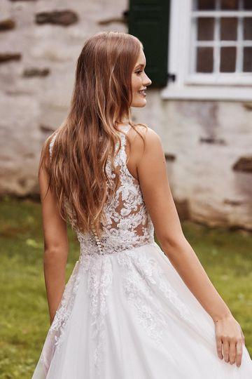 Sincerity Bridal Style 44260 Dropped Waist Tea Length Ball Gown with Illusion Sabrina Neckline