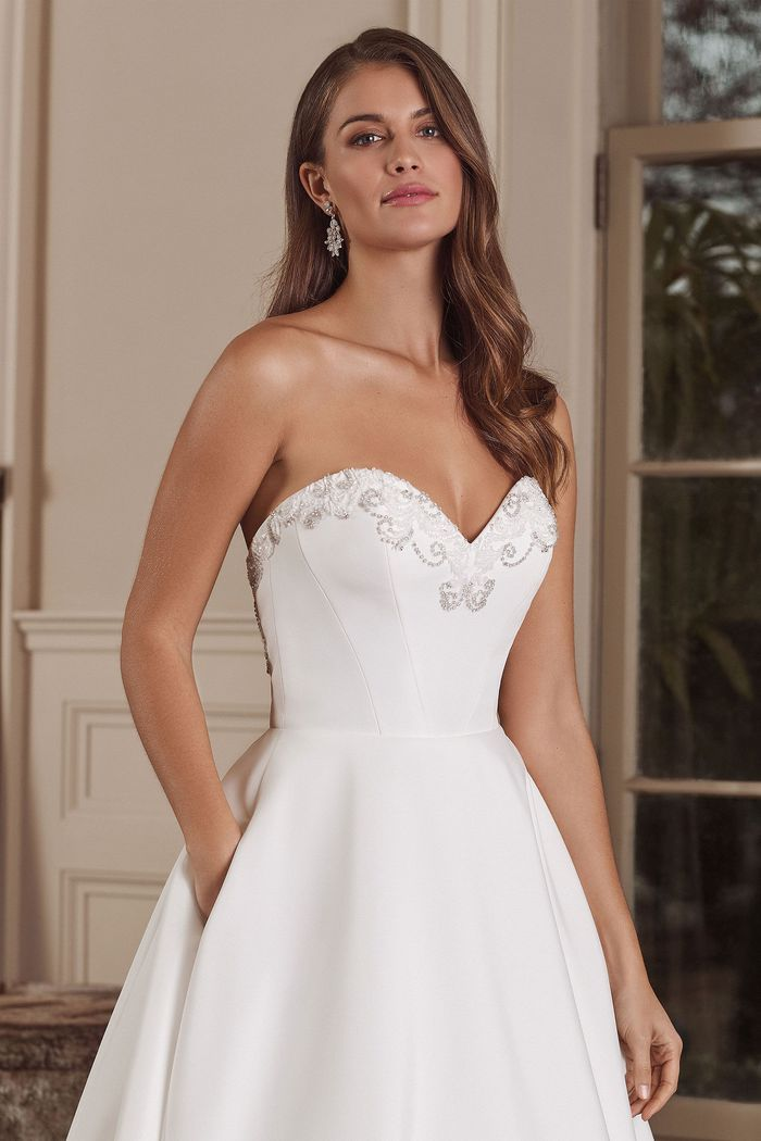 Justin Alexander Style 88149 Ainsley Strapless Sweetheart Faille Ball Gown with Beaded Illusion Back