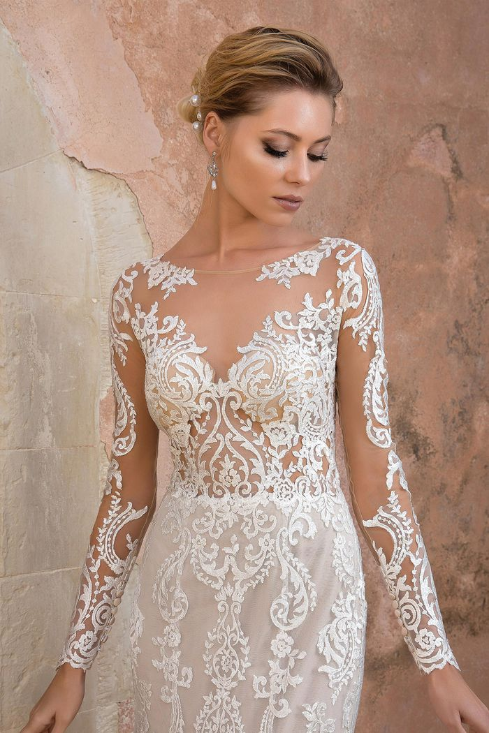 Justin Alexander Style 88049 Allover Lace Illusion Long Sleeve Fit and Flare Gown