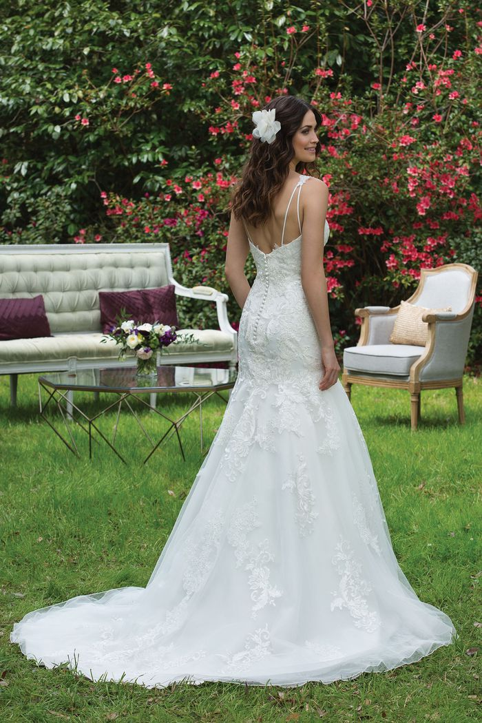 Sincerity Bridal Style 3955 Tulle and Satin Dropped Waist Gown with Straps