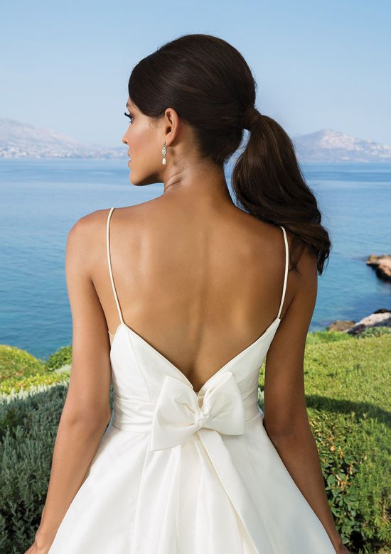 Justin Alexander Style 8927 Silk Dupion A-Line with Deep V-Back and V-Neckline