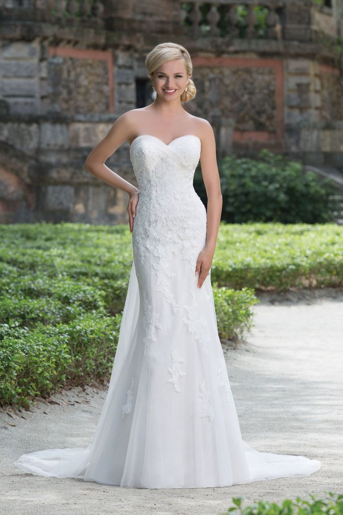 Sincerity Bridal Style 3876 Soft Tulle and Lace Gown with Detachable Train