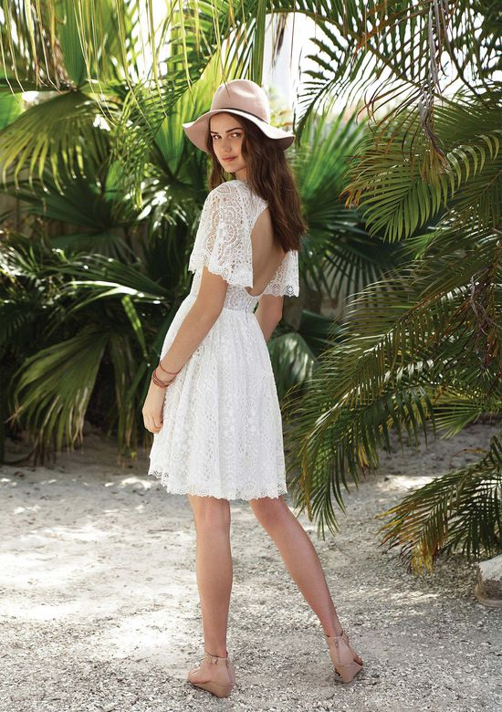 Lillian West Style 66030 Allover Lace Short Dress with Flutter Sleeves
