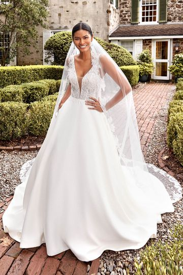 Sincerity Bridal Style 44276 Plunging V-Neck Satin Ball Gown with Fully Beaded Bodice