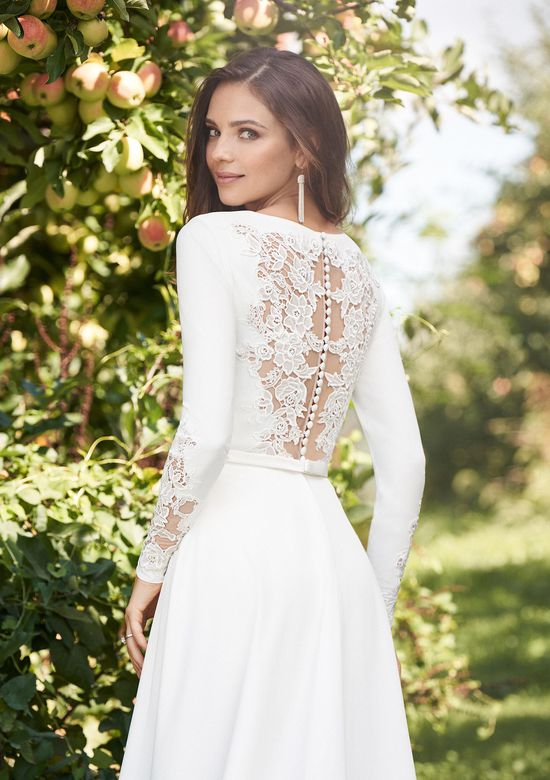 Lillian West Style 66120 Long Sleeve Crepe Romper with Lace Detail and Slit