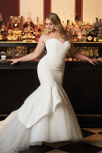 Justin Alexander Style 8933PS Satin Mermaid Plus Size Wedding Dress Accented with Apron Tulle and Organza Skirt