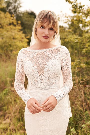 Lillian West Style 66191 Allover Lace Dress with Sabrina Neckline and Detachable Sleeves
