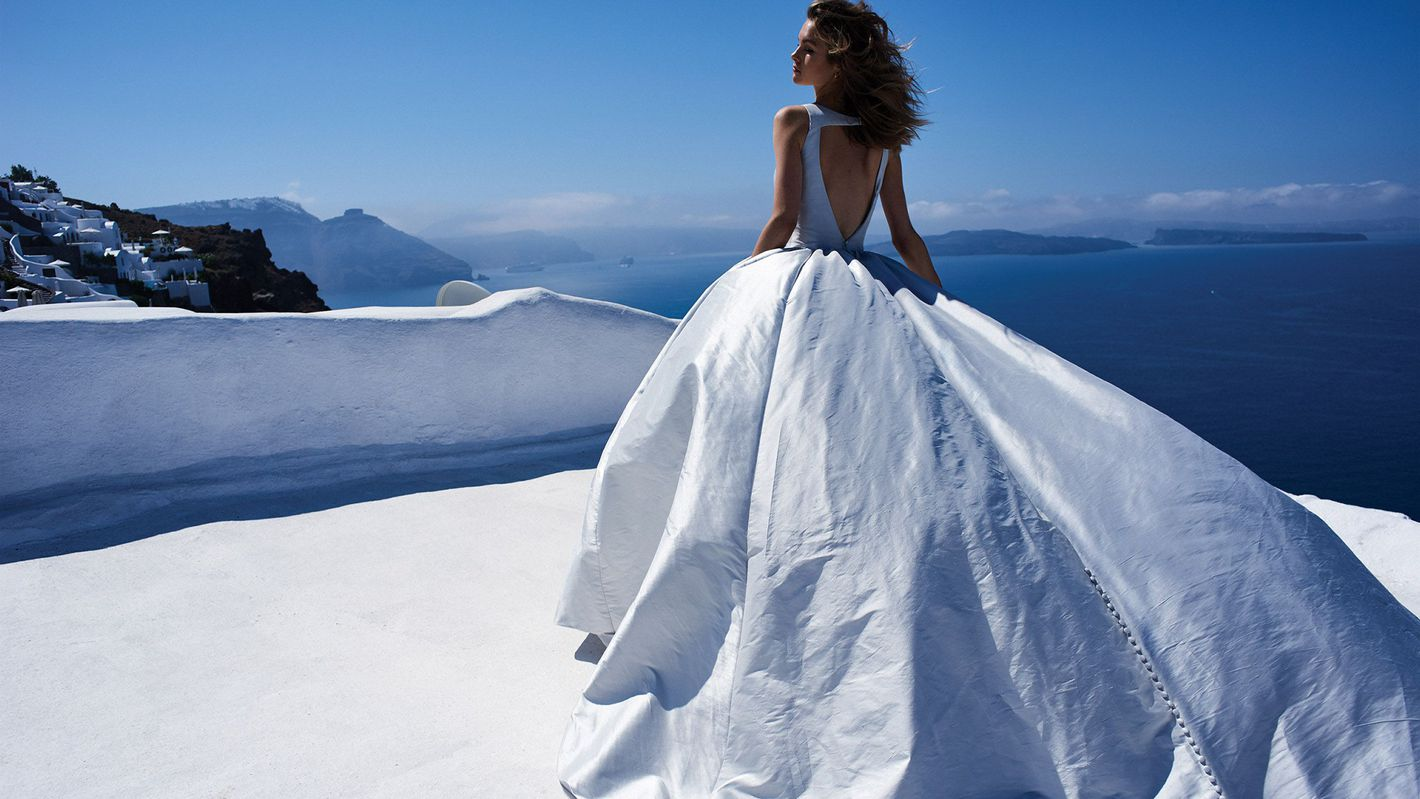 - Style 8970: Silk Dupion Ball Gown with Plunging V-Neckline and Keyhole Back