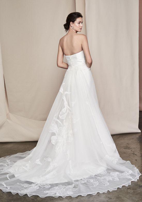 Justin Alexander Signature Style 99097 Verbena Silk Mikado Gown with Cummerbund at Waist and Detachable Train