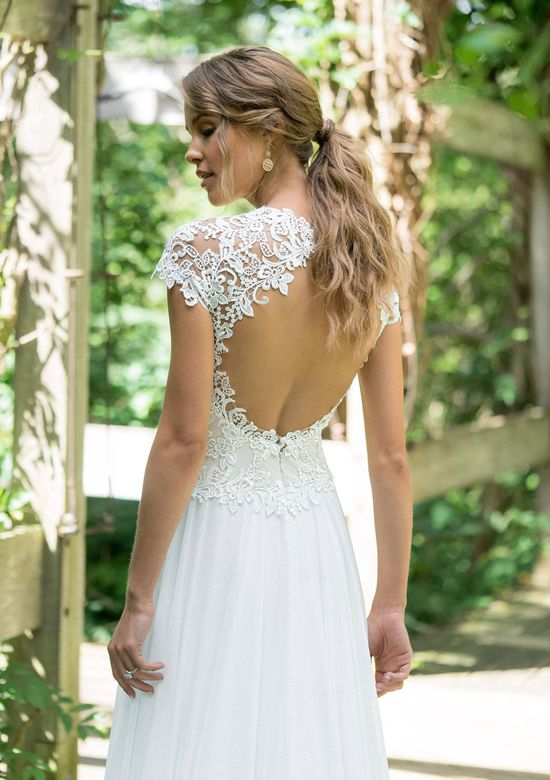 Lillian West Style 66006 Lace Bodice Slim A-Line with Keyhole Back