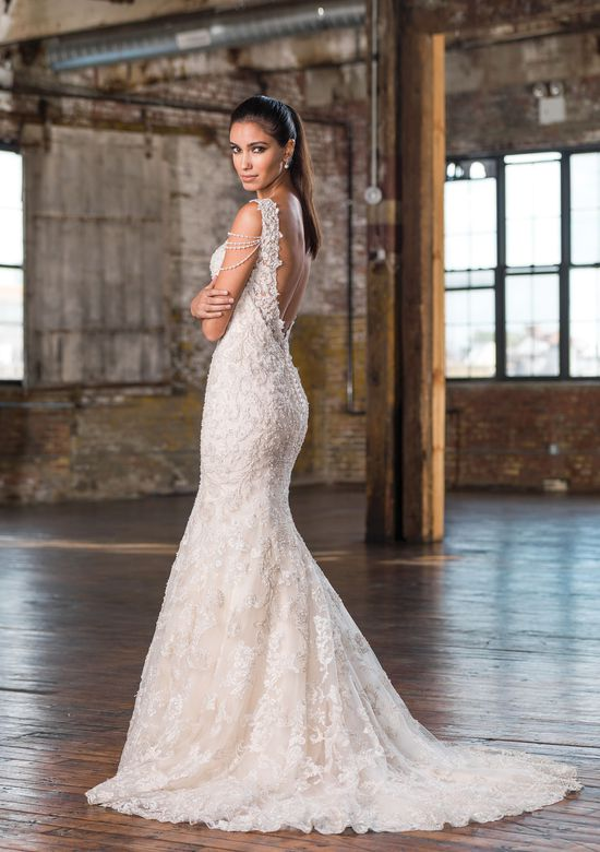 Justin Alexander Signature Style 9829 Sweep Train Fit and Flare Gown with Draped Pearl Strands