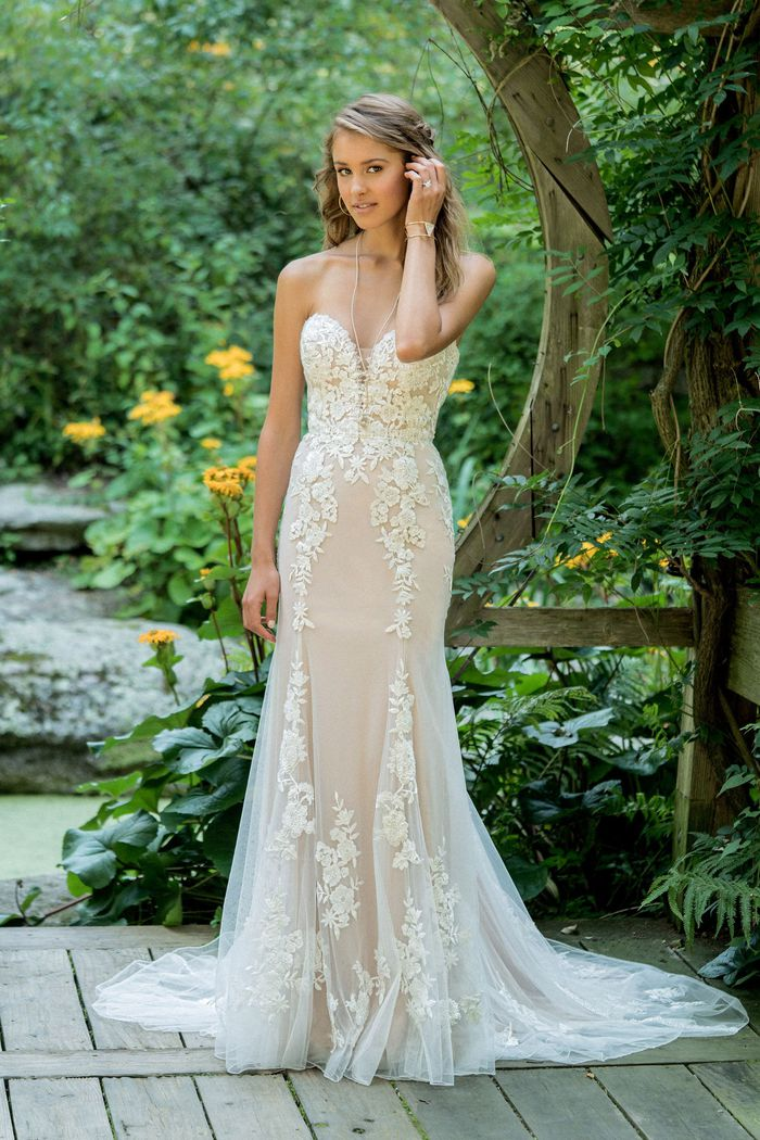 Lillian West Style 66009 Strapless Lace Fit and Flare with Plunging V-Neck