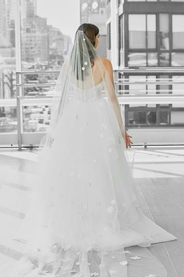 Cathedral Length Veil with 3D Floral Appliques