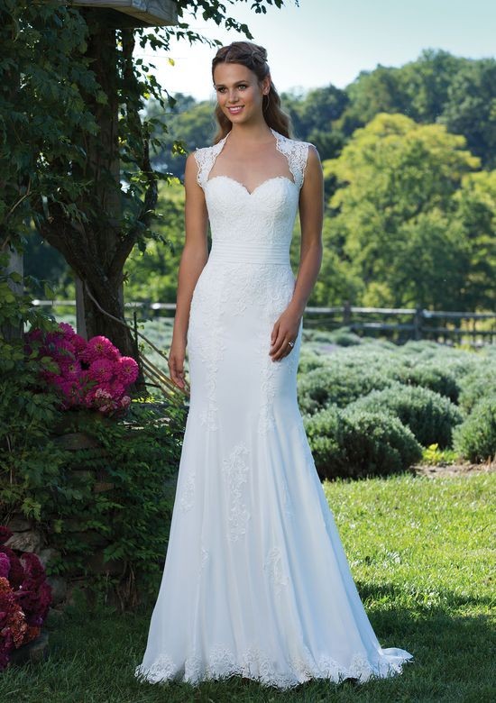 Sincerity Bridal Venice Lace and Chiffon Fit and Flare with Pleated Cummerbund and Keyhole Back