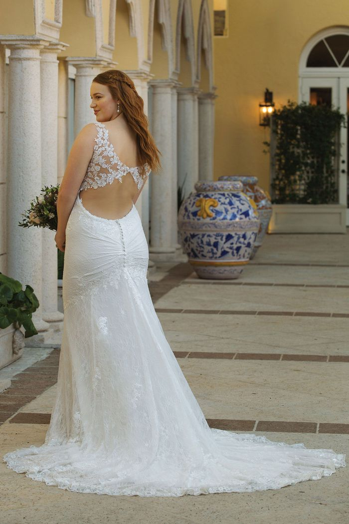Sincerity Bridal Style 44062PS Slim Allover Lace Plus Size Gown with Keyhole Back Detail