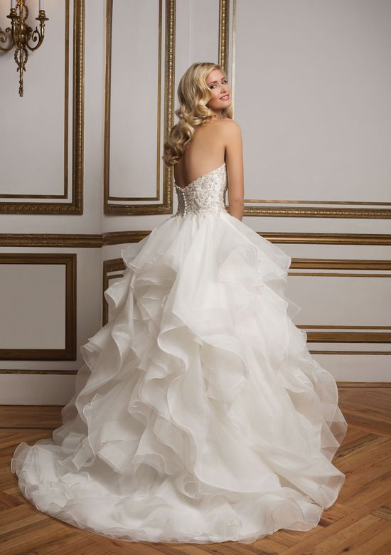 Justin Alexander Style 8845 Beaded Bodice and Organza Ruffle Skirt Wedding Dress