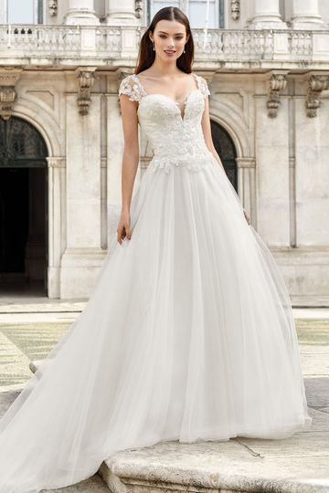 Adore by Justin Alexander Style 11147 Basque Waist Ball Gown with Queen Anne Neckline
