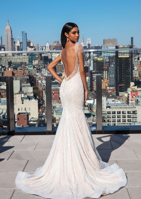 Justin Alexander Signature Style 99048 Geometric Beaded Fit and Flare Gown with Cap Sleeves