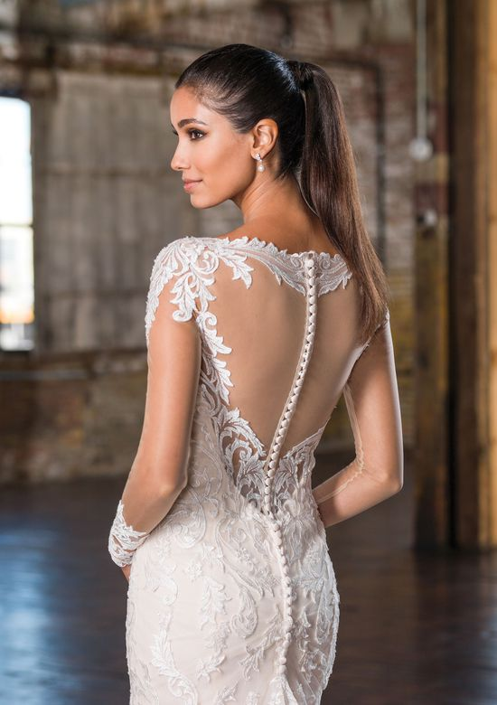 Justin Alexander Signature Style 9831 Illusion Lace Long Sleeve Fit and Flare Bridal Gown