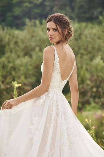 Lillian West Style 66142 Natural Waist A-Line Gown with Large Lace appliqués