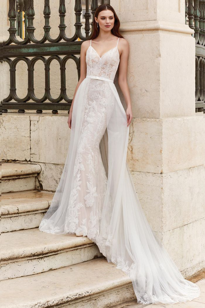 Adore by Justin Alexander Style 11157 Bikini Neckline Lace Fit and Flare Gown with Illusion Bodice
