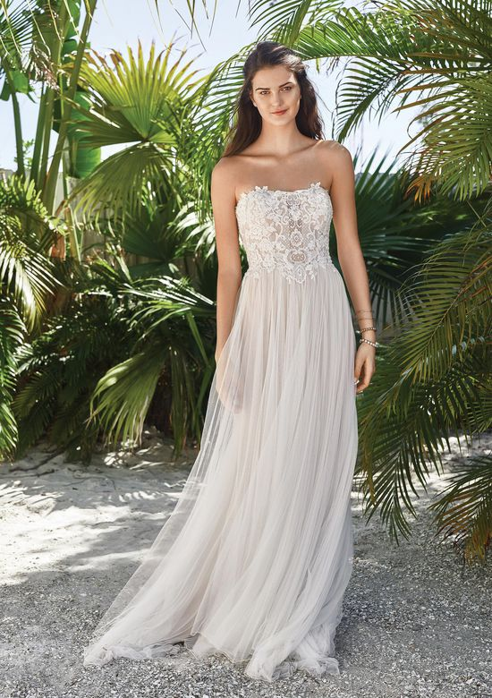 Lillian West Style 66053 A-line Dress with Beaded Halter Neckline