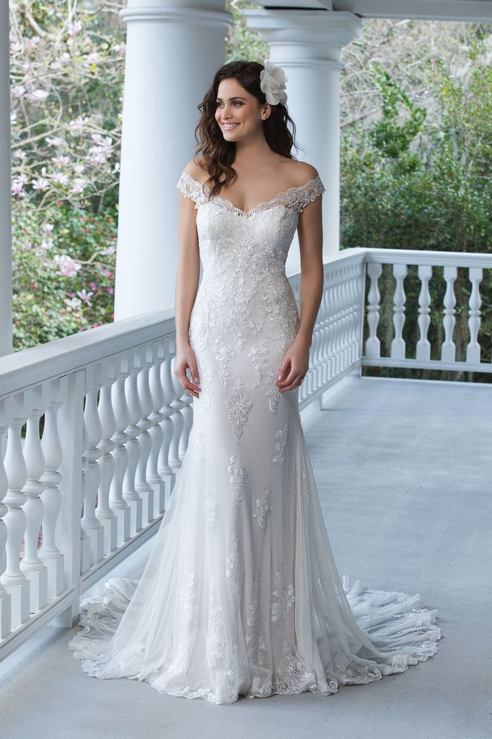 Sincerity Bridal Style 3938 Off the Shoulder Lace Gown with Open Back