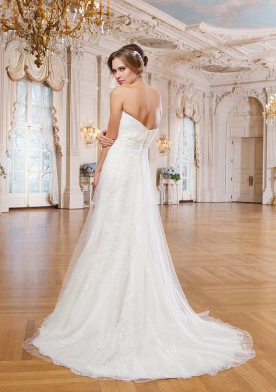 Lillian West Style 6349 Draped Lace Gown with Sweetheart Neckline