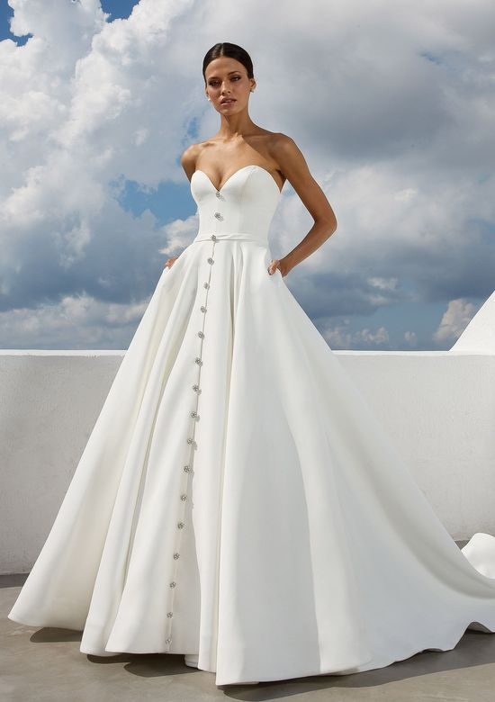 Justin Alexander Style 88025 Sweetheart Satin Ball Gown with Crystal Buttons