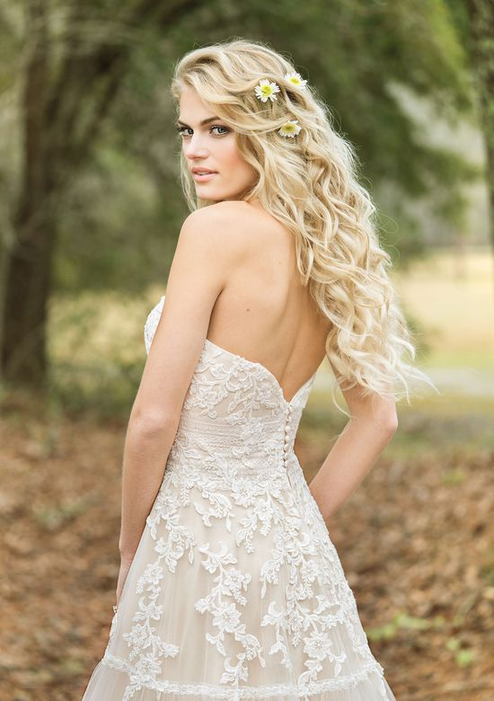 Lillian West Style 6451 Strapless Lace Gown with Lace-Trimmed Tiered Skirt