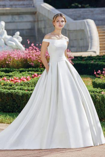 Sincerity style 44122 Portrait Off the Shoulder Neckline Clean Ball Gown