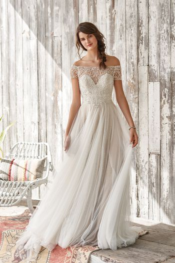 Lillian West Style 66056 Beaded Off the Shoulder Flowing A-line Dress