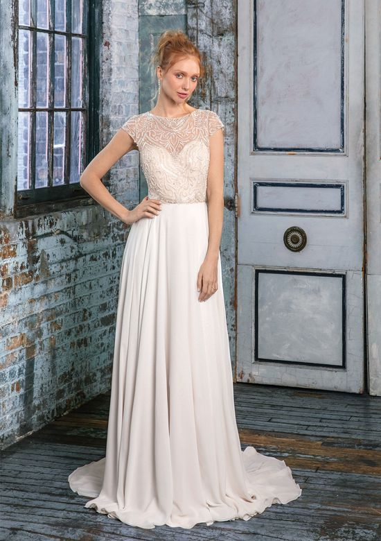 Justin Alexander Signature Style 99004 Beaded Illusion Bodice with A-Line Chiffon Skirt