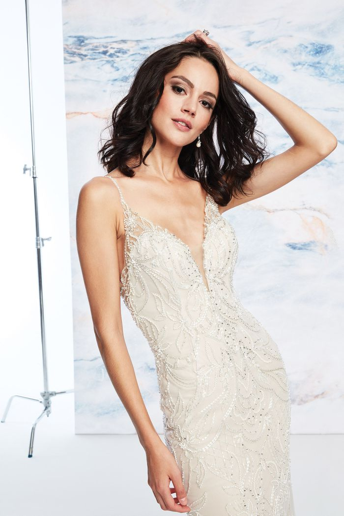 Justin Alexander Signature Style 99063 Beaded Fit and Flare Dress with Detachable Train