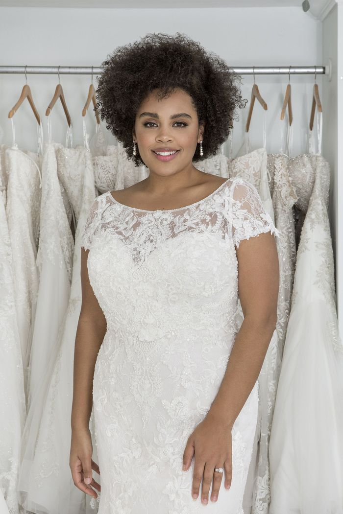 Sincerity Bridal Style 44212PS Strapless Plus Size Lace Fit and Flare Dress with Short Sleeve Jacket