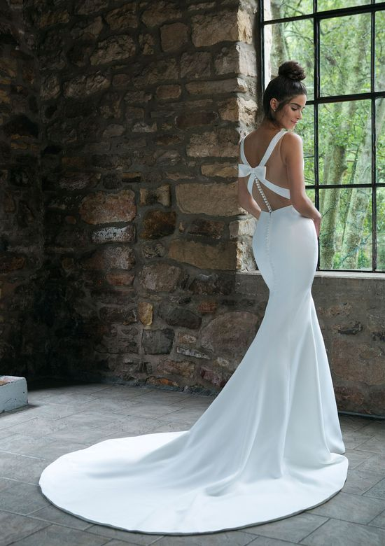 Sincerity Bridal Style 44043 Satin Trumpet Gown with Back Bow Detail