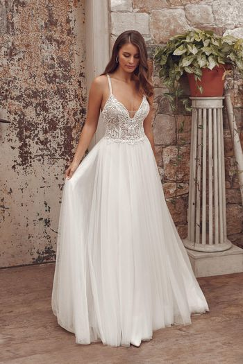 Justin Alexander Style 88151 Alessandra A-Line Gown with English Net Skirt and Hand Beaded Lace Bodice