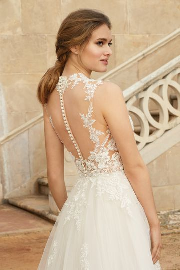 Sincerity Bridal Style 44246 Queen Anne Neckline Tulle Ball Gown
