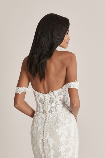 Justin Alexander Style 88224 Caela Off the Shoulder Lace Fit and Flare Dress with Sheer Train